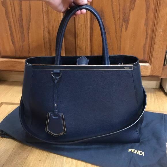 cbec712f2e21 Fendi Handbags - Fendi Navy Saffiano Leather Medium 2jours Tote